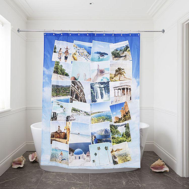 Custom Shower Curtain Travel Montage Style design