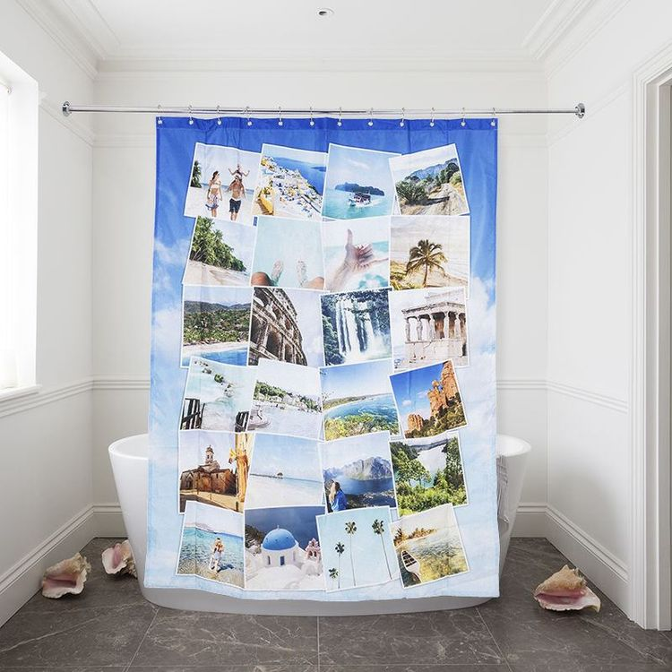 Shower Curtain Travel Montage Style design