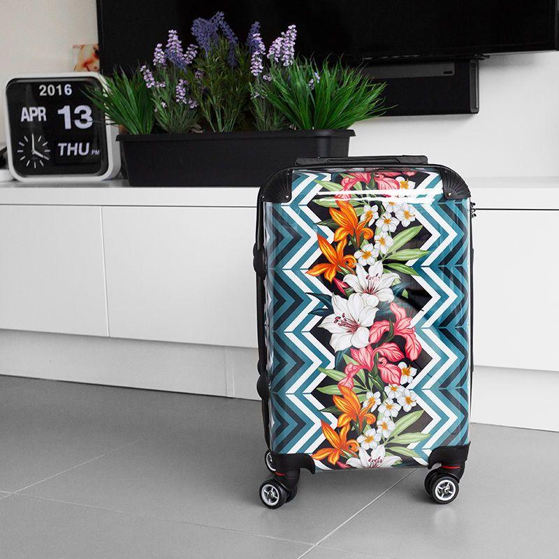 Valise personnalisée avec dessin floral