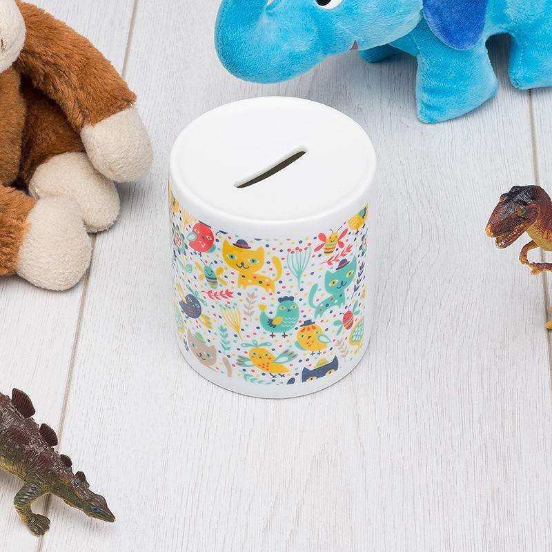 custom piggy banks printed with cute cartoon design in kids bedroom