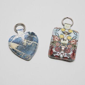 Personalisierter Schlüsselanhänger aus Leder und Kunstleder
