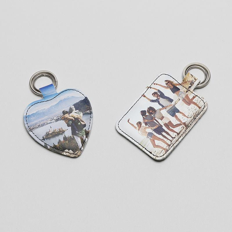 Handmade Wooden Heart Keyring Keychain Grey /& White Stars Print