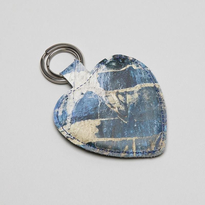 custom leather keychains heart shaped
