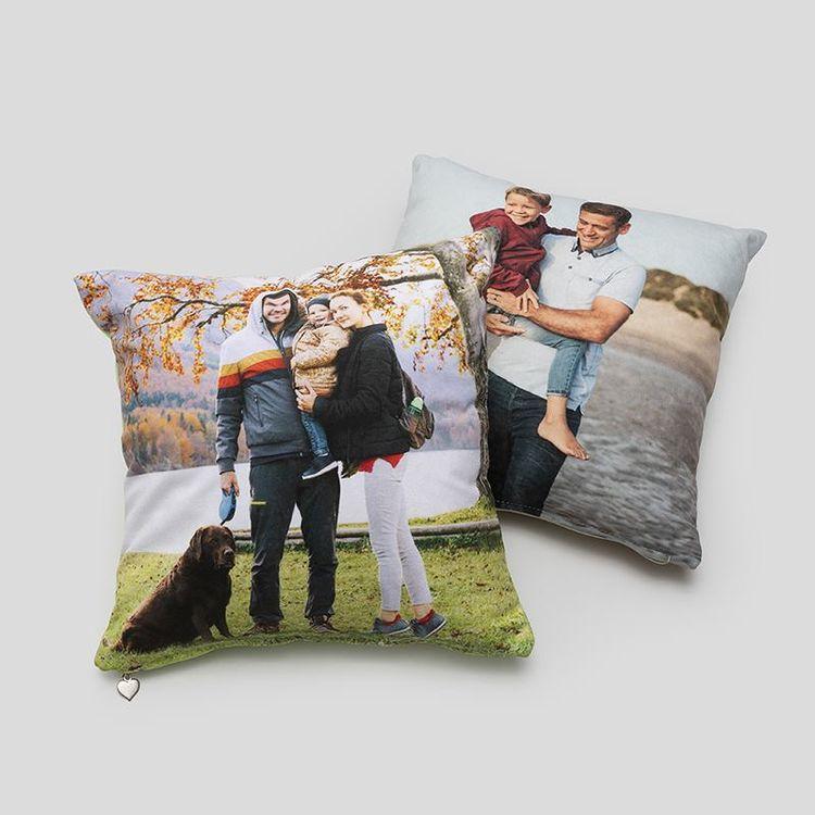 Petit coussin personnalisé avec photo de famille