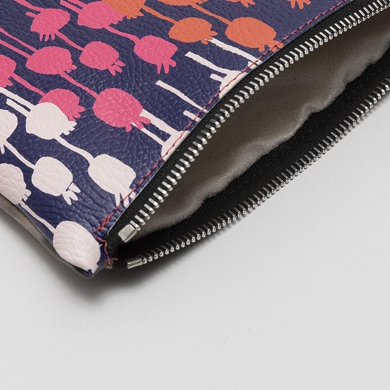 custom leather clutch zip detailing
