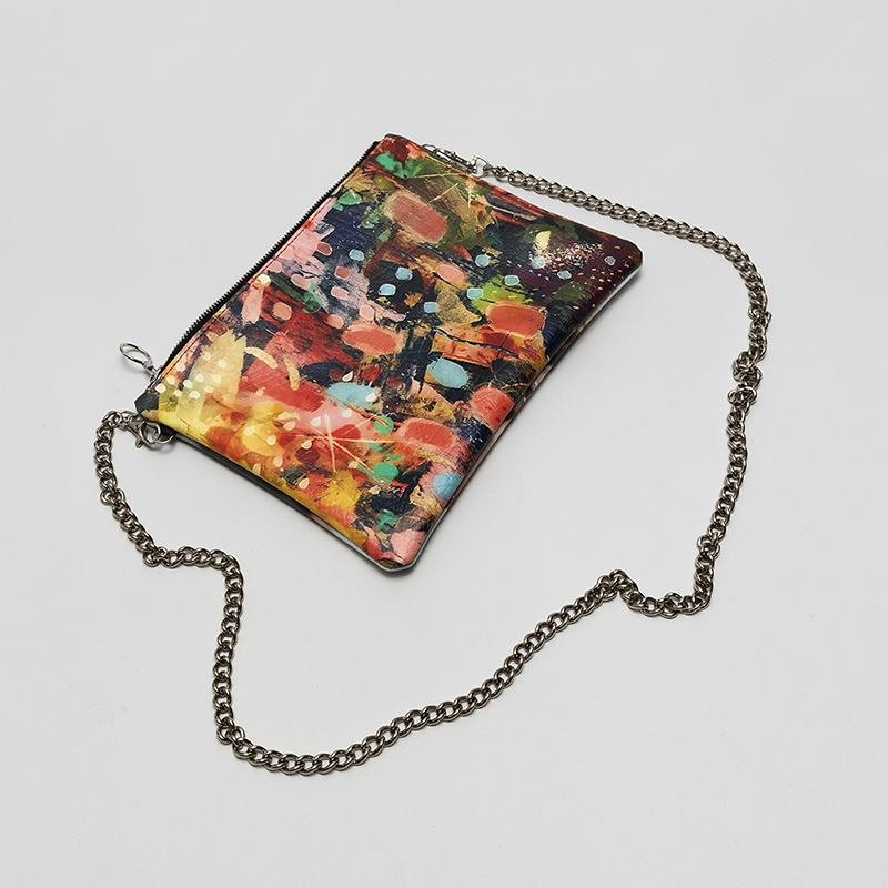 bolso de mano con cadena plata oro personalizado