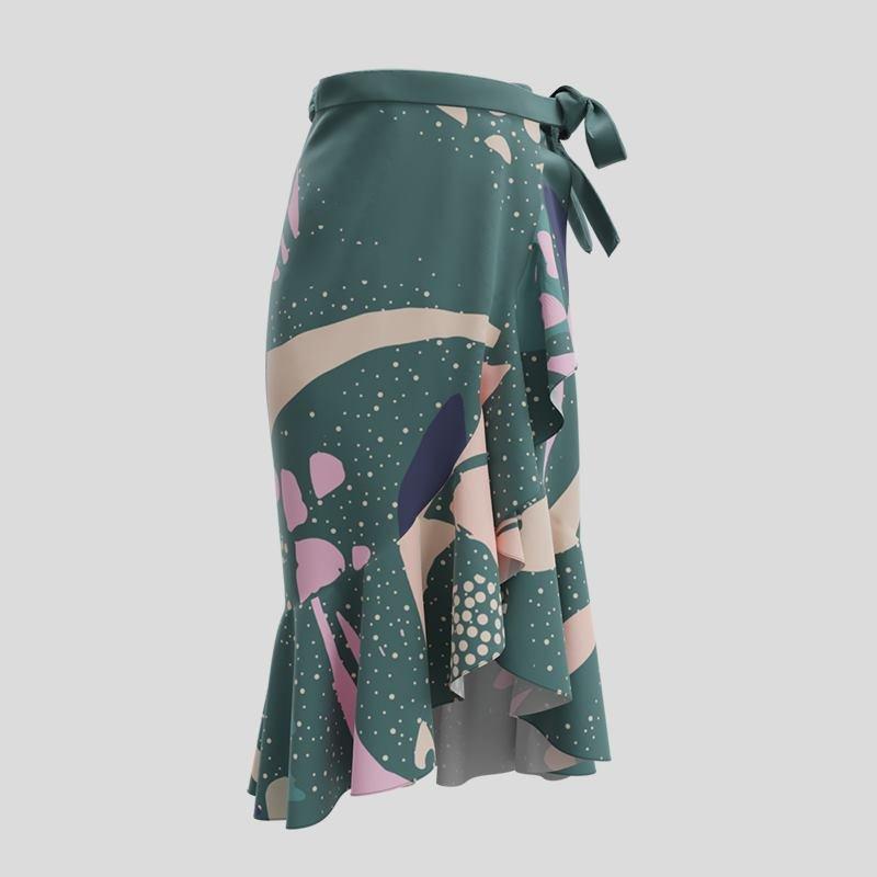 custom printed flouncy skirt