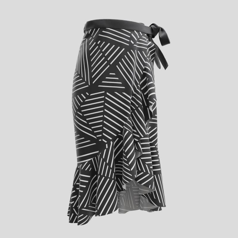 Jupe portefeuille imprimée avec design noir et blanc