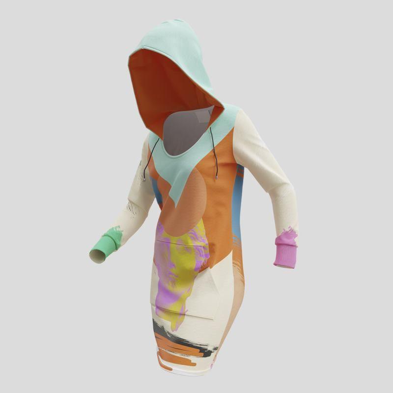 Robe à capuche imprimée en couleur
