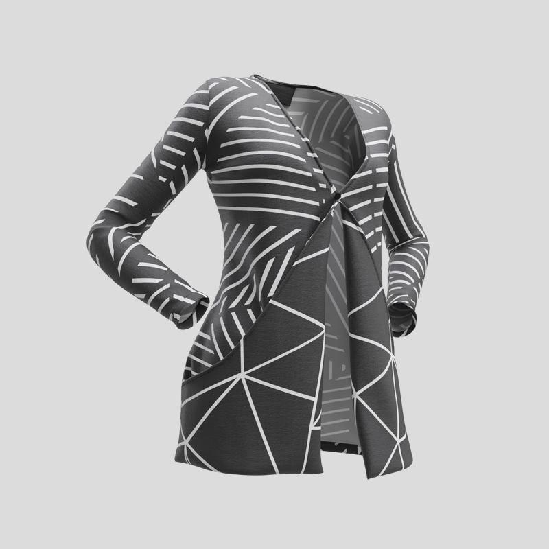 Design géométrique sur le gilet personnalisé avec poches