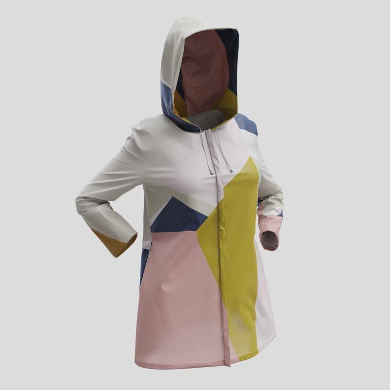 Recto de la veste imperméable à capuche