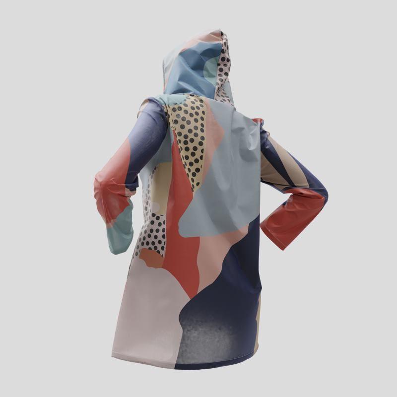 Vue sur le verso de la veste imperméable avec design