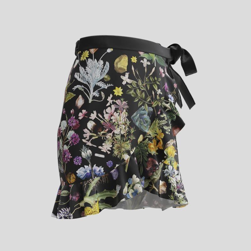 custom printed flounce skirt