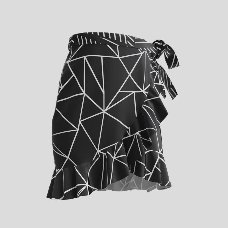 Design géométrique sur la jupe portefeuille imprimée