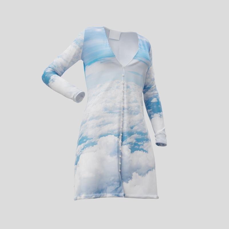 bedrucktes kleid mit knopfleiste