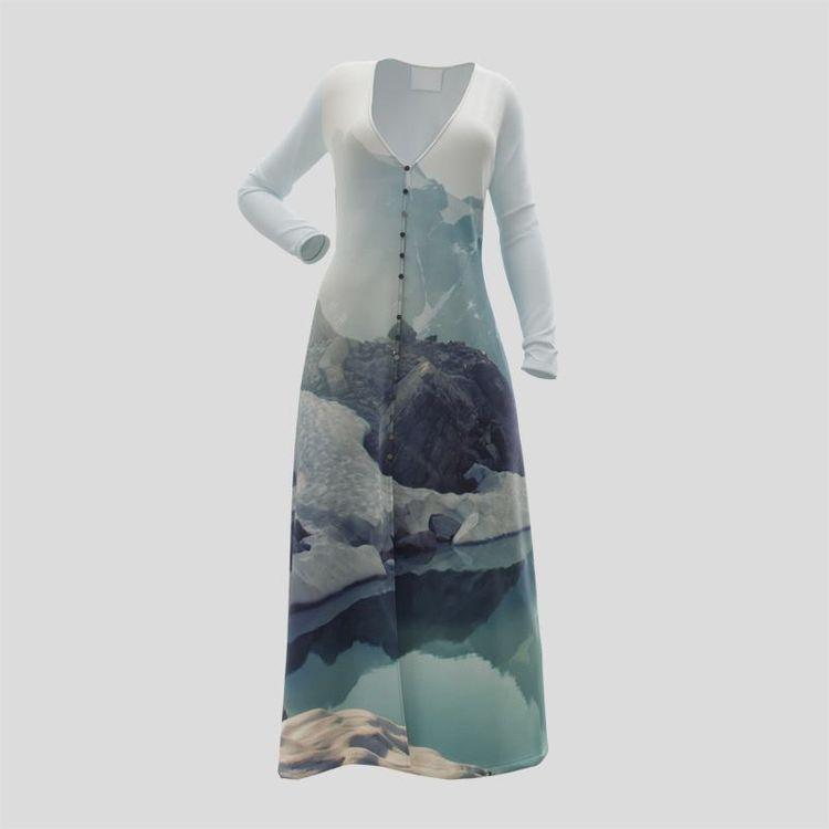 custom printed button dress