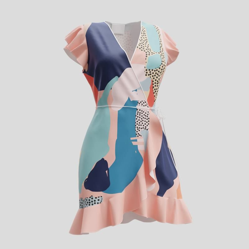 custom printed flounce dress