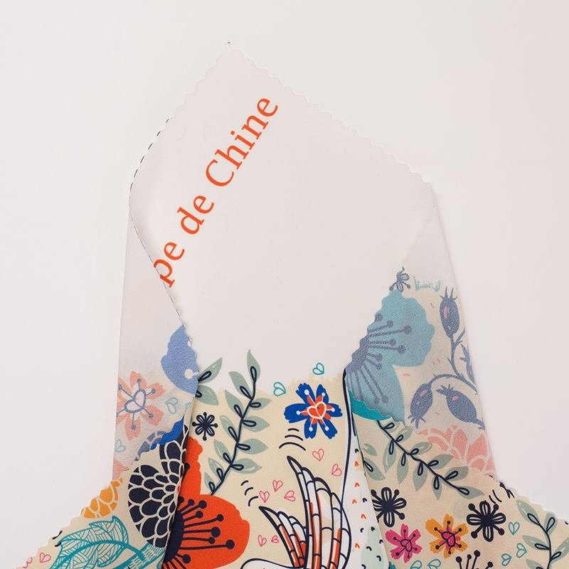 Crepe de Chine fabric print shiny