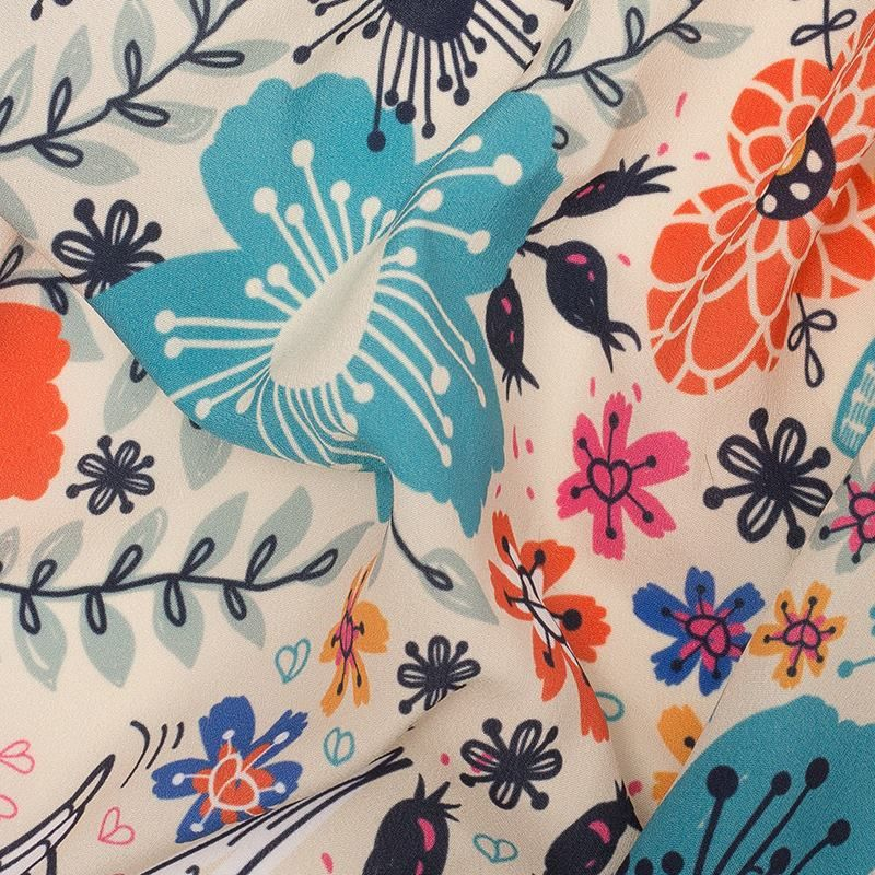 Crepe de chine fabric printing