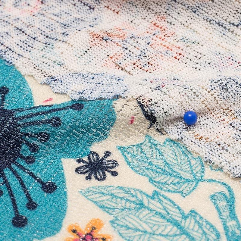 Loose Knit Jersey stof textuur voor- en achterkant