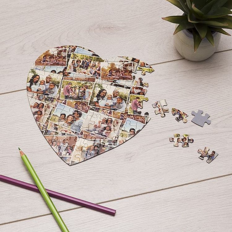 foto puzzle a forma di cuore