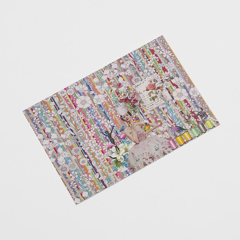single postcard featuring colourful artist design