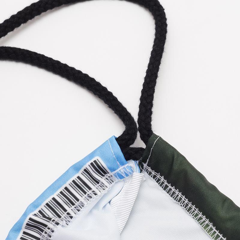 discreet barcode and drawstring cord details