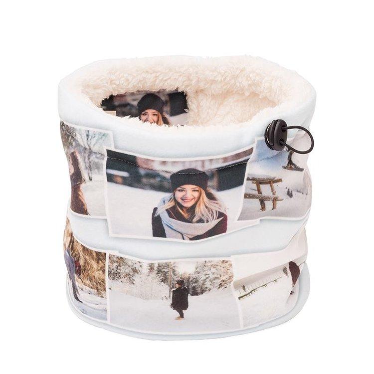 Custom Snood cream fleece photo montage