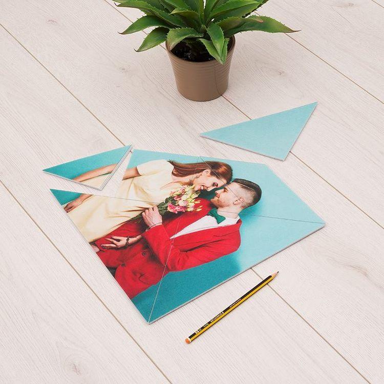 Puzzle tangram personnalisable pour couple