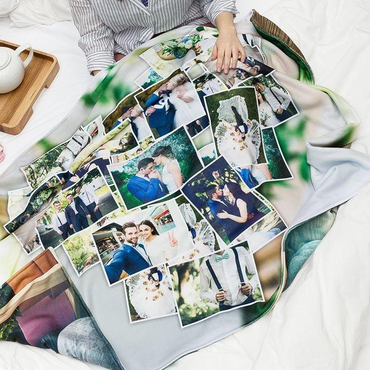 gepersonaliseerde deken met fotocollage trouwdag