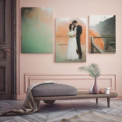 cuadro tríptico de boda personalizables