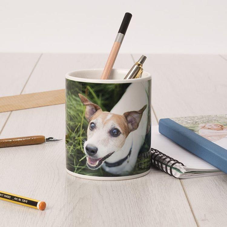 犬の 写真 デザインの オリジナル ペン 立て