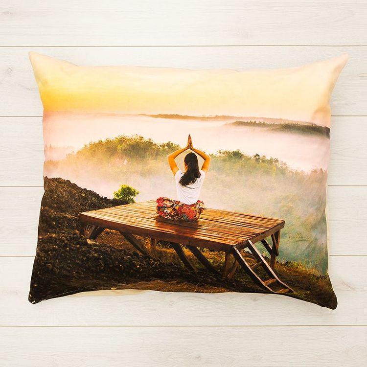 Photo meditation pillow printed