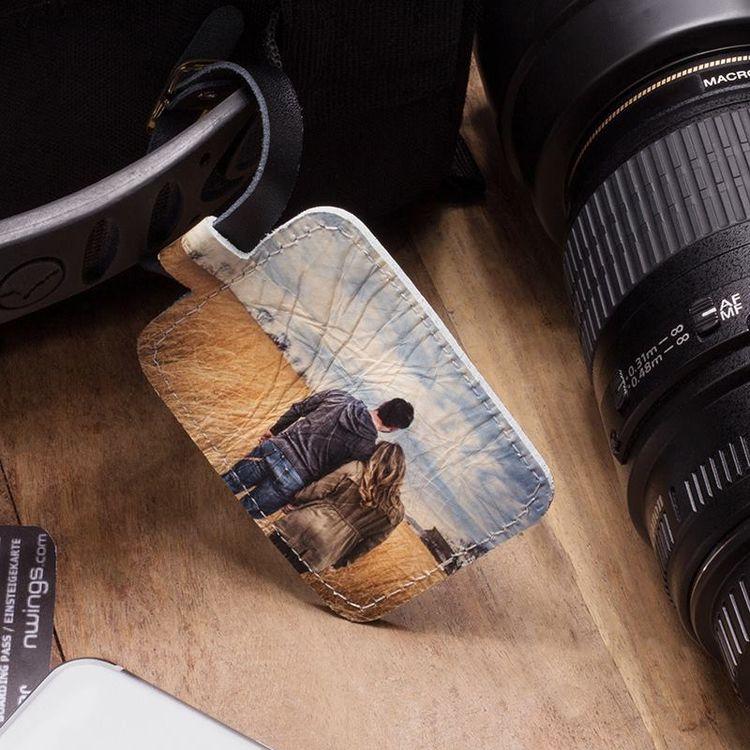 Läder bagagetag med fototryck