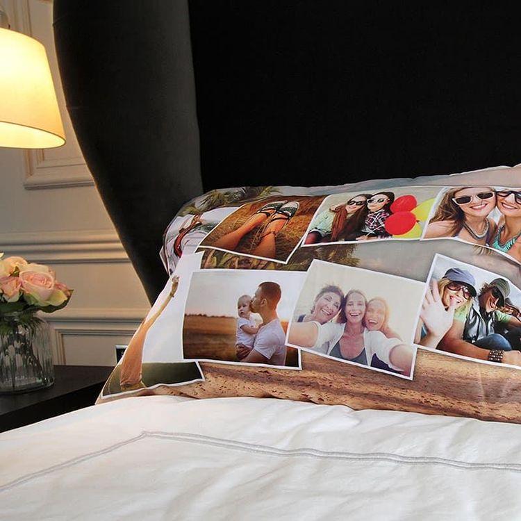 Taie d'oreiller personnalisée avec un montage photos