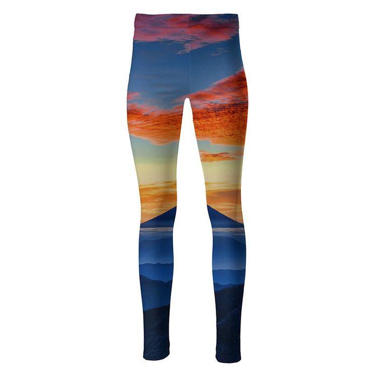 high waist leggings bedruckt mit landschaftsfoto