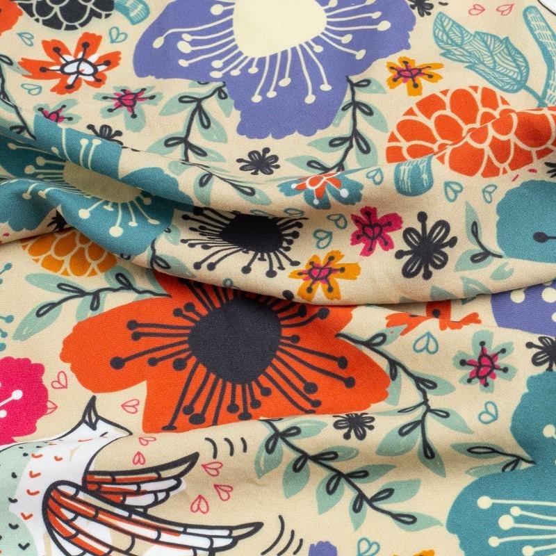 custom Bamboo fabric printing pleated