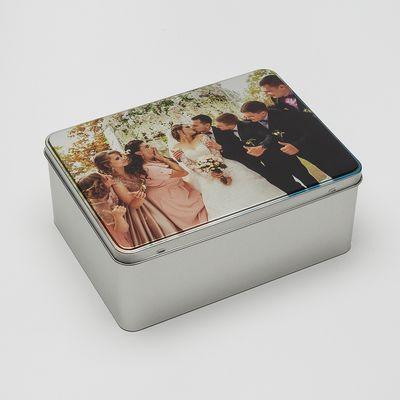 caja de metal personalizada foto aniversario