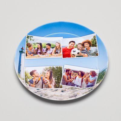 fototeller aus kunststoff mit collage
