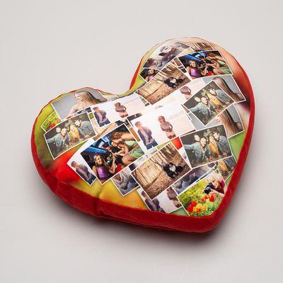 Hjärtformad kudde med foto