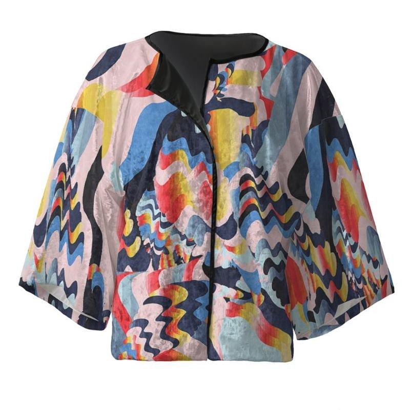 Veste kimono courte avec design psychédélique