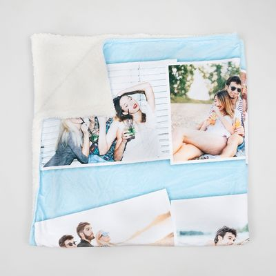 text Plaid Blanket Fleece Custom 150x100 with Photos images names