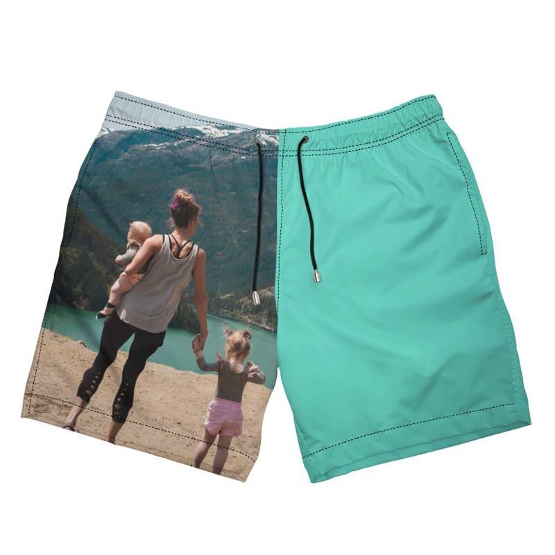 Kids Plain Quick Dry Printed Swim Side Split Shorts
