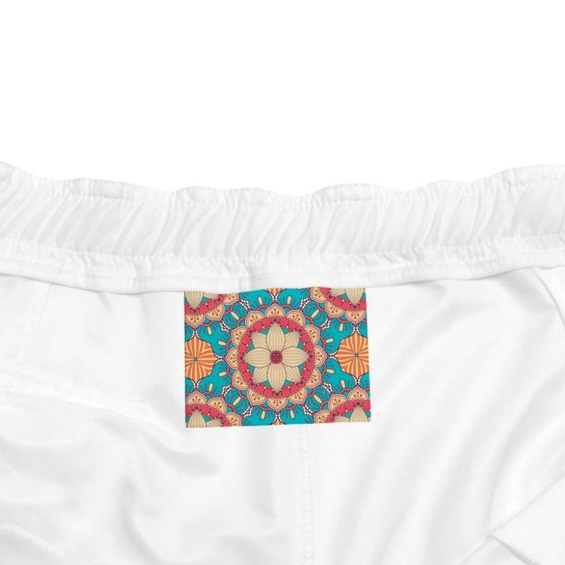 printed swim shorts label