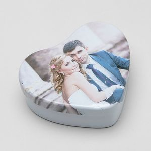 personalised wedding heart shaped tins