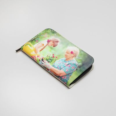 Läderplånbok med tryck