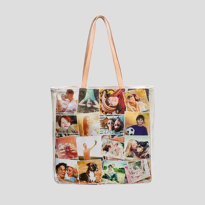foto tasche bedruckt mit herzförmiger collage shopper