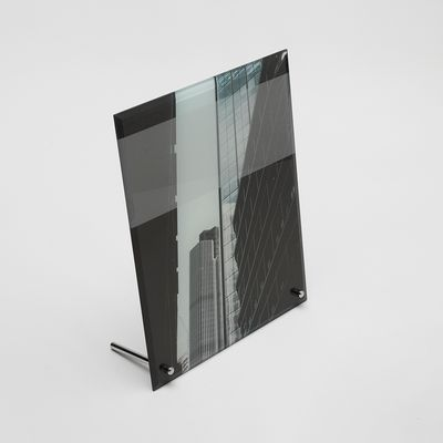 printed glass desk frame