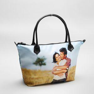 personalised zip top handbag