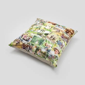 Federa cuscino da pavimento con collage di foto